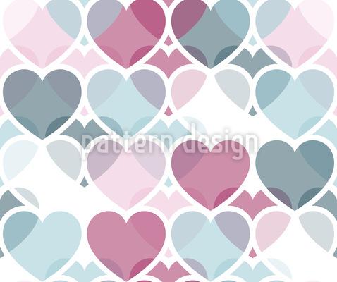 Überlappende Herzen Vektor Muster