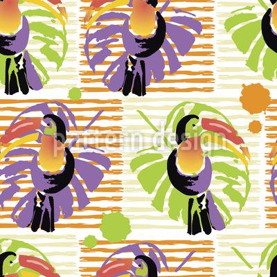 TukaneUnd Palmblätter Vektor Ornament