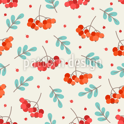 Blätter und Vogelbeeren Musterdesign