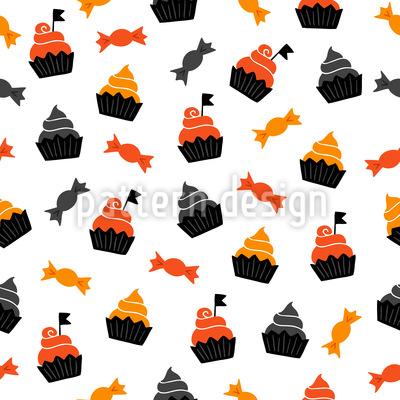 Halloween Süßigkeiten und Cupcakes Designmuster