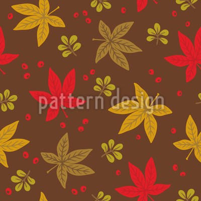 Distributed Autumn Leaves Seamless Vector Pattern Design