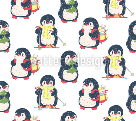Pinguine Lieben Winter Musterdesign