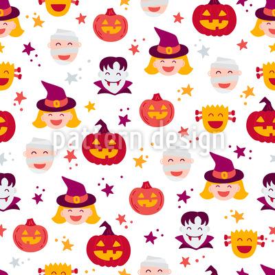 Halloween Gesichter Nahtloses Vektor Muster