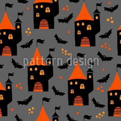 Halloween Schloss Und Fledermäuse Rapportiertes Design