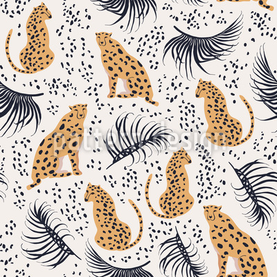 Gepard Unter Palmen Nahtloses Vektormuster