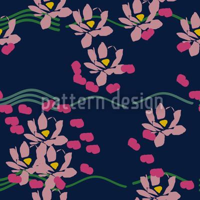 Lotus Liebe Blau Nahtloses Vektormuster
