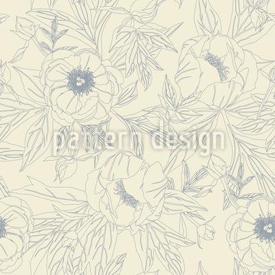 Peonías elegantes Estampado Vectorial Sin Costura