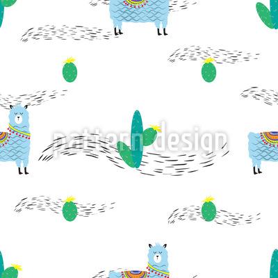 niedliches lama und kaktus nahtloses muster