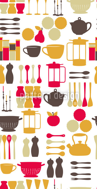Kitchen Fairy Pink Seamless Vector Pattern