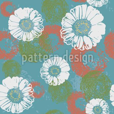 Stempelte Blüten Nahtloses Muster