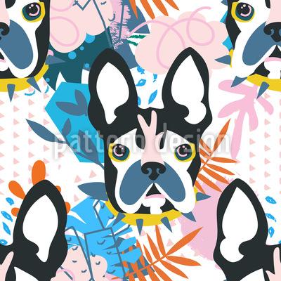 Cabeça de cachorro de colagem Design de padrão vetorial sem costura