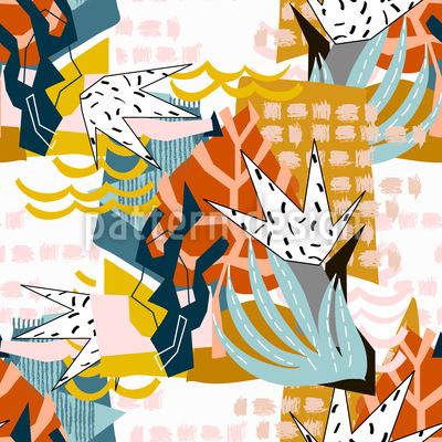 Abstrakte Florale Collage Musterdesign