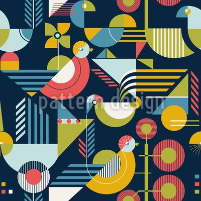 Bauhaus Style Birds Seamless Vector Pattern Design