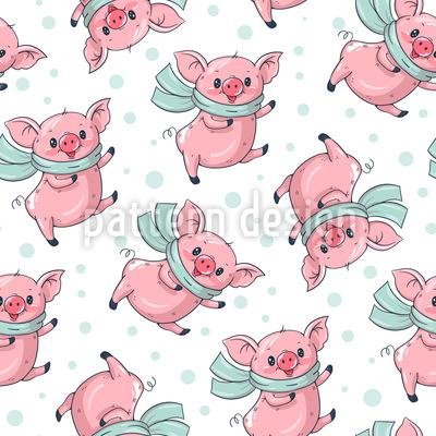 Niedliche Cartoon Schweine Nahtloses Vektormuster