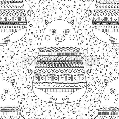 Zentangle Piglets Seamless Vector Pattern Design