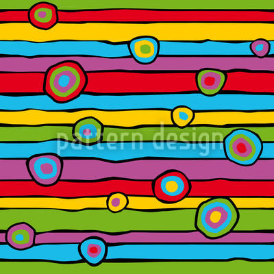 Happy Stripes And Circles Design Pattern