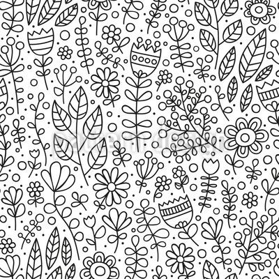 Erblühte Doodle-Wiese Rapportiertes Design