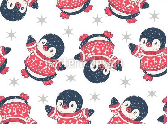 Baby-Pinguine Nahtloses Vektormuster