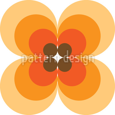 Iconic 60s Flower Seamless Vector Pattern Design