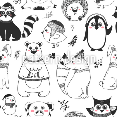 Animales de invierno Estampado Vectorial Sin Costura