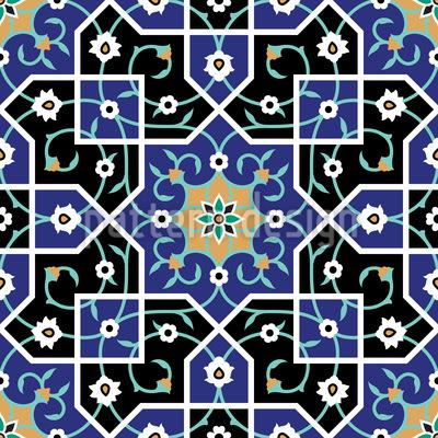 Moorish Flower Twists Seamless Vector Pattern Design