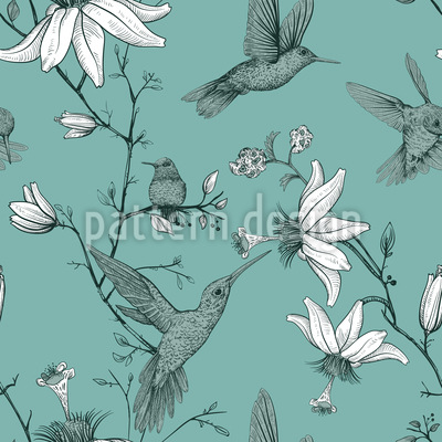 Bird And Lily Flowers Seamless Vector Pattern Design