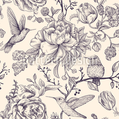 Colibri And Flowers Seamless Vector Pattern Design