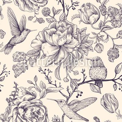 Colibri Y Flores Estampado Vectorial Sin Costura