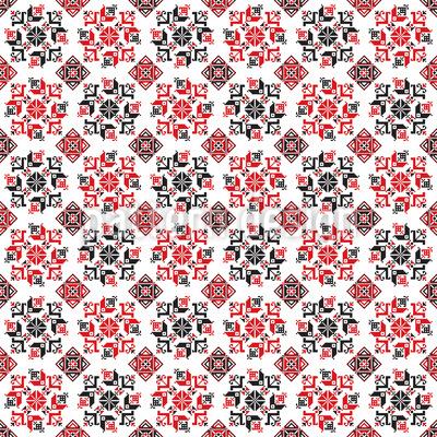 Bordado romeno Flocos de Neve Design de padrão vetorial sem costura