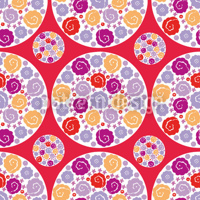 Flower Bouquet Red Pattern Design