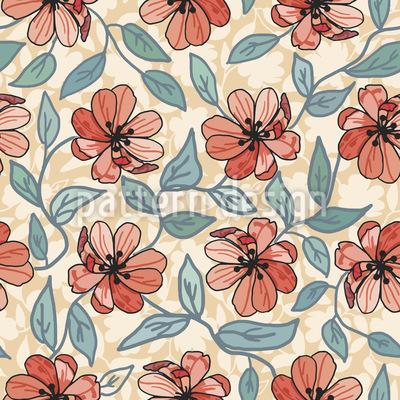 Blumenzeichnung Rapportiertes Design