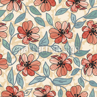 Flower Drawing Seamless Vector Pattern Design