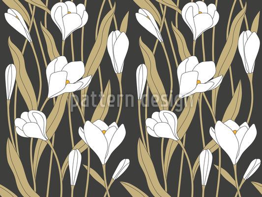 Açafrão Flor Design de padrão vetorial sem costura