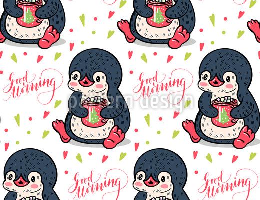 Good Morning Sweet Penguin Seamless Vector Pattern Design