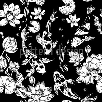 Koi-Karpfen und Wasserlilien Nahtloses Vektormuster