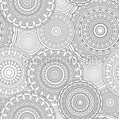 Viele Mandalas Nahtloses Vektormuster