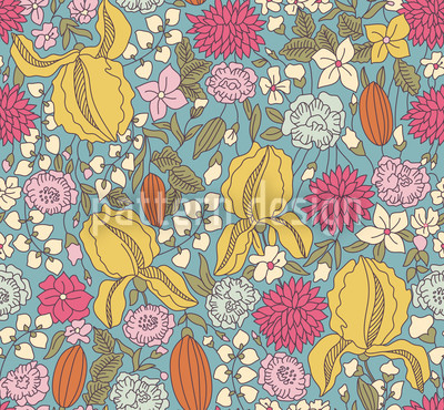 Little Garden Secrets Seamless Vector Pattern