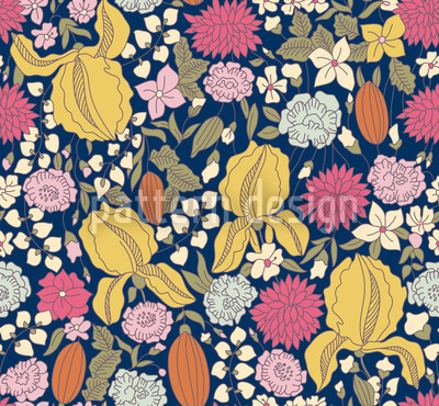 Dark Garden Secrets Seamless Vector Pattern Design