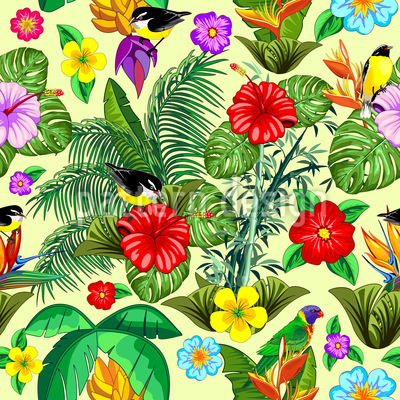 Exotic Nature Seamless Vector Pattern Design