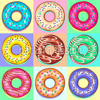 Donuts Pop Art Seamless Vector Pattern Design