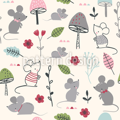 Mäuse Im Wald Nahtloses Vektormuster