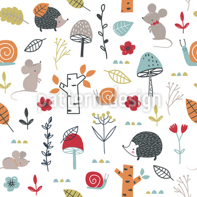 Tiny Forest Animals Seamless Vector Pattern Design