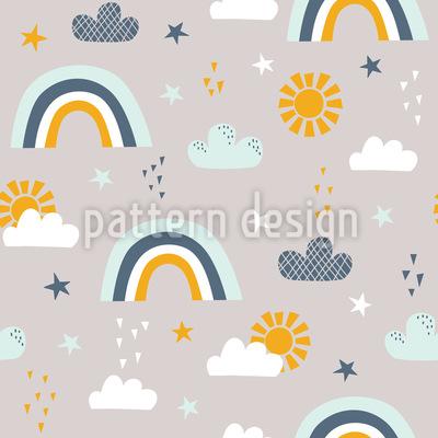 太陽虹の雲と星 シームレスなベクトルパターン設計