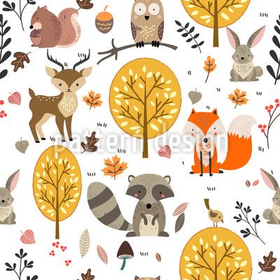 Animais da floresta selvagem Design de padrão vetorial sem costura