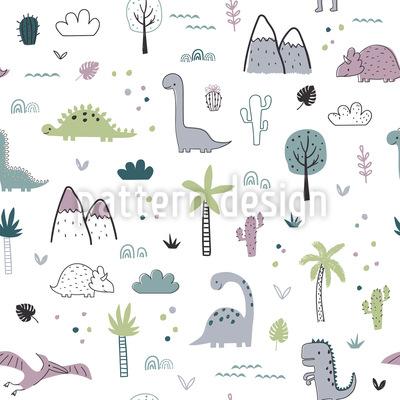 Dinosaurier Landschaft Nahtloses Vektormuster