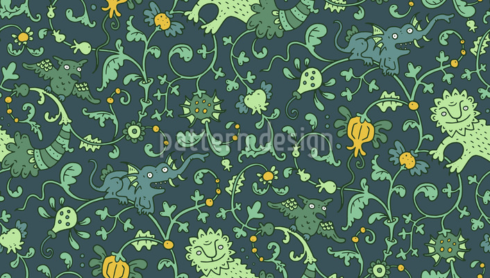 Whimsy Lions Seamless Vector Pattern