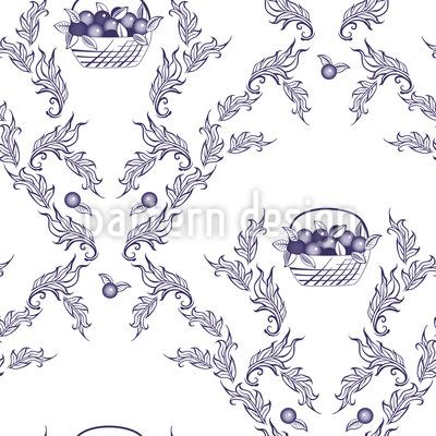 Emmas Cherries Blue Seamless Pattern
