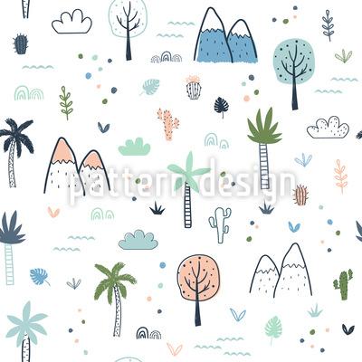 Bäume und Berge Nahtloses Vektormuster