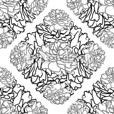Rose Dream Black White Repeating Pattern