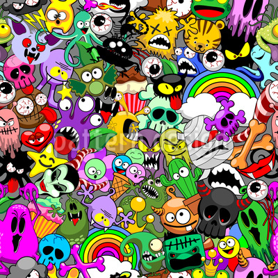 Monster Characters Seamless Vector Pattern Design